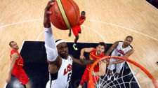 United States' LeBron James (6) dunks against Spain during the men's gold medal basketball game at the 2012 Summer Olympics in London