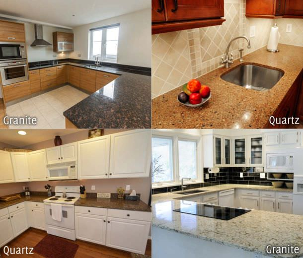 A side-by-side comparison of granite and quartz used in kitchen countertops. Click to enlarge.