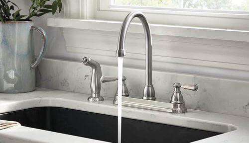 See Peerless's Elmhurst Two-Handle Kitchen Faucet.