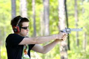 A man shooting with a .357 Magnum
