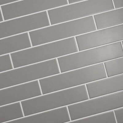 See SomerTile's gray, retro porcelain subway tiles.