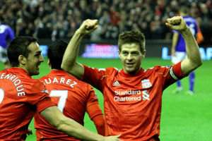 Gerrard, captain of Liverpool FC celebrates his second goal vs Everton on Mar 13,2012