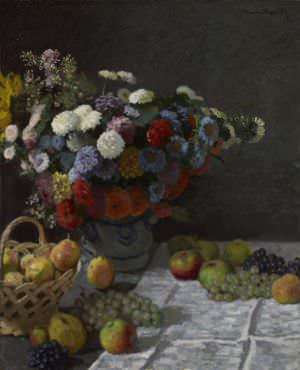 Still Life with Flowers and Fruit by Claude Monet.