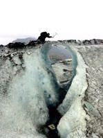 An ice climber navigating delicate terrain - Cerro Torre Glacier in Argentina