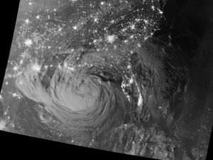 Hurricane Isaac as seen from a NASA satellite on August 28, 2012.