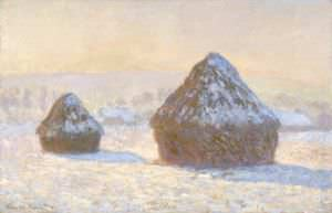 Wheatstacks, Snow Effect, Morning (Meules, Effet de Neige, Le Matin) by Claude Monet.