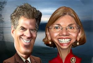 Warren vs. Brown caricature