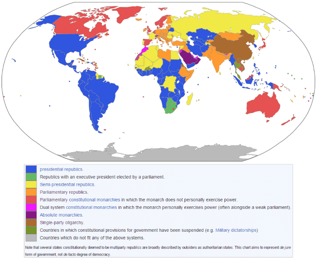 Click to enlarge. A map showing the many different kinds of republics in the world today.