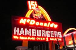 First McDonalds franchise opened by Ray Kroc on April 16, 1955. This was the Ninth McDonald's Drive-In in the U.S.