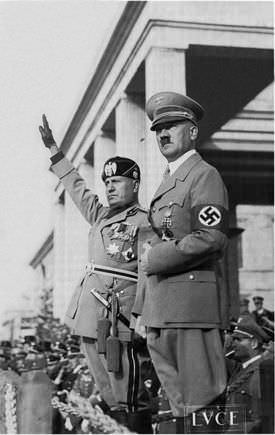 Adolf Hitler and Benito Mussolini, two of the most brutal and evil fascist leaders in history.