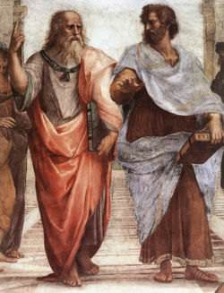 Plato (L) holding the Timaeus and Aristotle (R) holding the Ethics, a painting by Raphael Sanzio at The School of Athens
