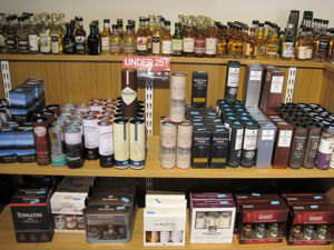 A display of different types of Scotch