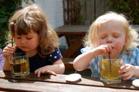 Kids enjoying Apple Juice and Apple Cider