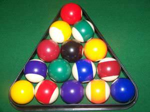 Fifteen balls on a pool table