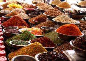 Dry fruits, herbs and spices in India.