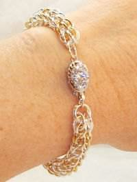 A bracelet with cubic zirconia.