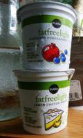 Yogurt cups in various flavors