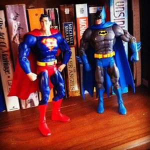 Superman and Batman figurines