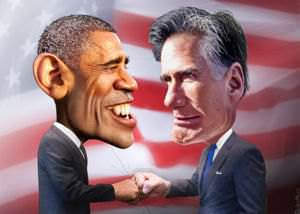 Obama vs. Romney caricature (by DonkeyHotey)
