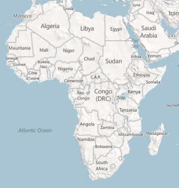 Map of Africa. DRC is roughly in the center and the Rep. of Congo is to its west.