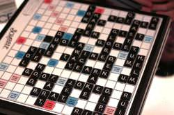 A Scrabble Board in an ongoing a game
