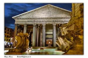 A view of Pantheon, an ancient temple of Rome, located near piazza Navona