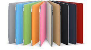 iPad smart covers in all colors (polyurethane on the left, leather on the right)