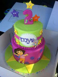 A cake featuring Dora the explorer