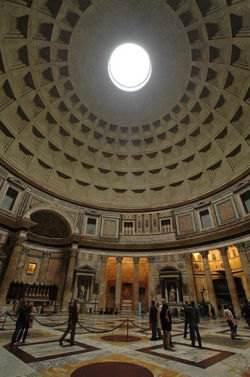 Inside of the Pantheon dome in Rome