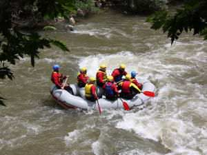 Rafting in River Struma at Kresna's Gorge.