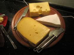 Edam, gouda and brie cheese