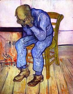Vincent Van Gogh's famous At Eternity's Gate, said to portray his own depression at the time