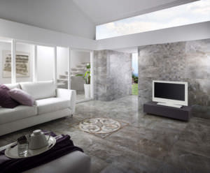 These porcelain tiles from Heritage Tiles have been made to look like marble. Click to enlarge.