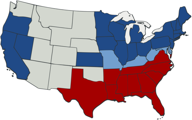 U.S. map showing which states belonged to the Union (dark blue), which belonged to the Union but permitted slavery (light blue), and which belonged to the Confederacy (red).