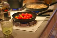 Dinner being cooked on a gas stove