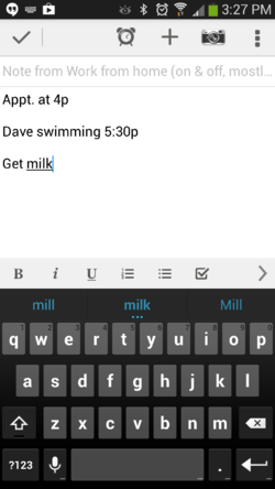 A screenshot of reminders on Evernote
