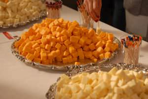 Cheddar cheese cubes at a wine tasting event