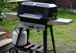 A gas grill