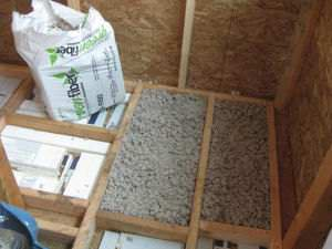 Floor insulation with blow-in recycled cellulose