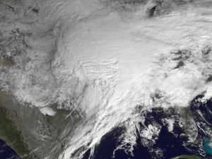 Satellite image of the United States blanketed by snow in February 2011.
