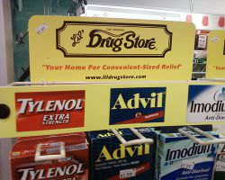 Advil and Tylenol in a drug store.