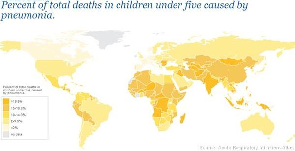 Percentage of total deaths in children under 5 caused by pneumonia around the world