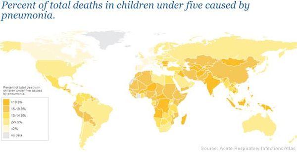 Percentage of total deaths in children under 5 caused by pneumonia around the world