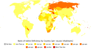 (Click to enlarge.) Iodine deficiency has become less common since the development of iodized table salt.