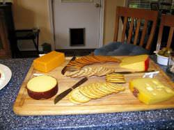 Gouda cheese on bottom left; Smoked Gouda on top right