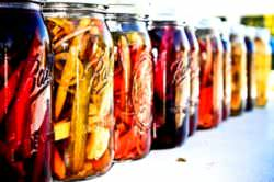 Cucumber, carrots, beetroot and various vegetables pickled in brine