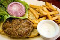 Lamb burger with Tzatziki (a Greek yogurt sauce)