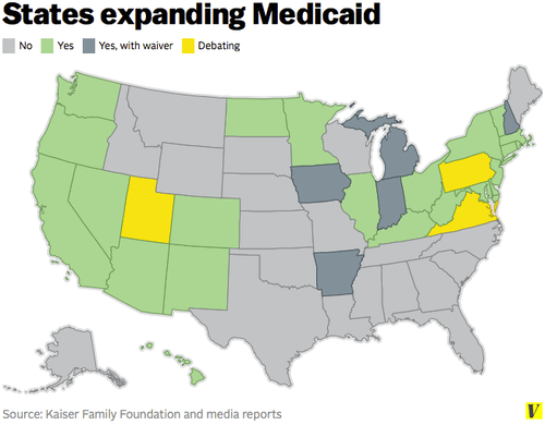 Map of the U.S. showing states that have expanded Medicaid after the ACA. Source: Vox