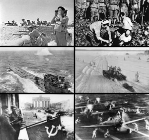 A montage of World War II photos