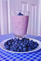 Blueberry smoothie made with yogurt